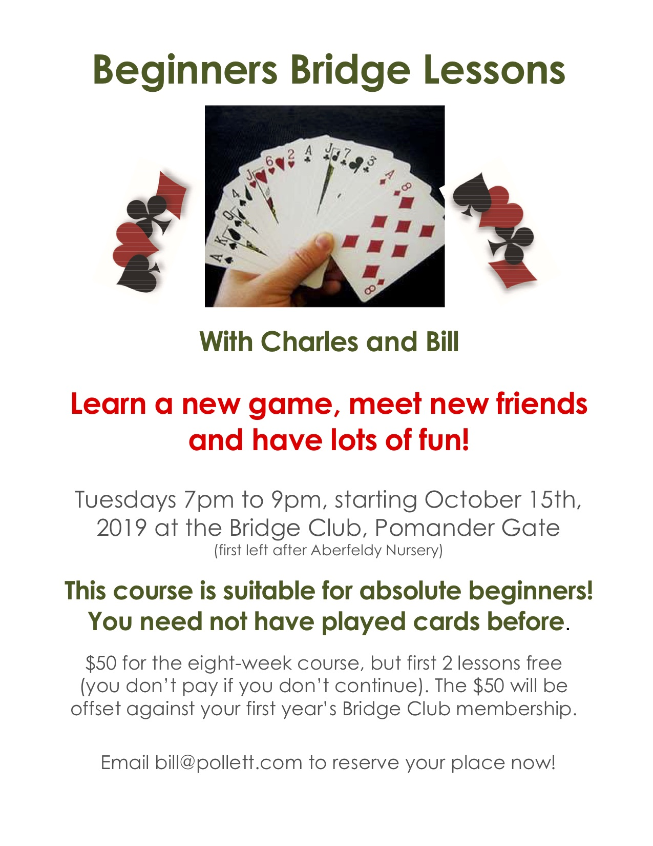 Beginners Bridge Lessons Oct 2019